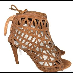Zara Lattice Brown Suede Lace-Up Heel Booties 38
